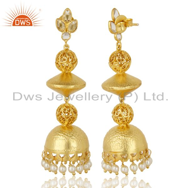 Exporter Handcreafted Artisan Indian traditional Gold Plated 92.5 Sillver Jhumka Earring
