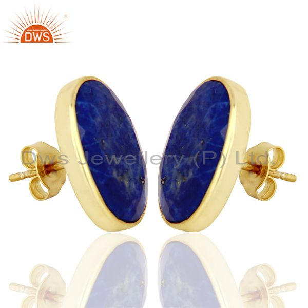 Exporter Natural Lapis Flat Large Statement Oval Post Gold Plated Silver Earring