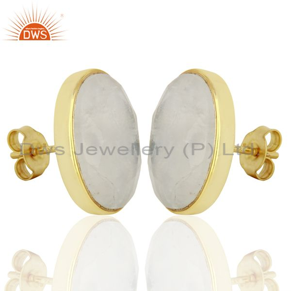 Exporter Rainbow Moonstone Flat Large Statement Oval Post Gold Plated Silver Earring
