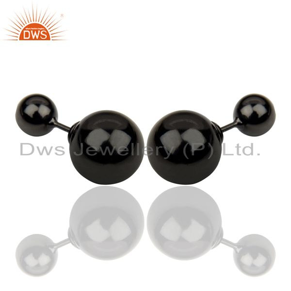 Exporter Two Ball Stud,Two Way Stud Post 14K Black Rhodium Trendy Sterling Silver Earring