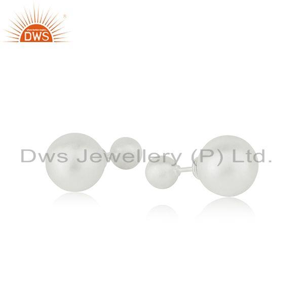 Exporter Handmade 925 Sterling Silver Double Side Stud Earrings Manufacturer India