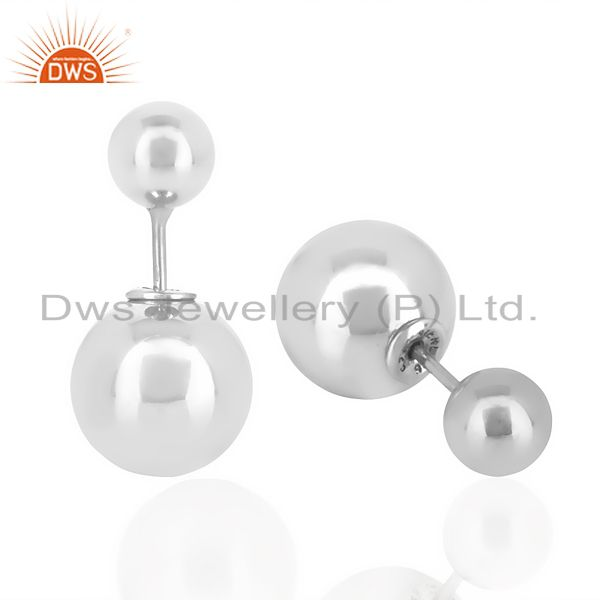 Exporter Two Ball Stud,Two Way Stud Post White Rhodium Trendy Sterling Silver Earring