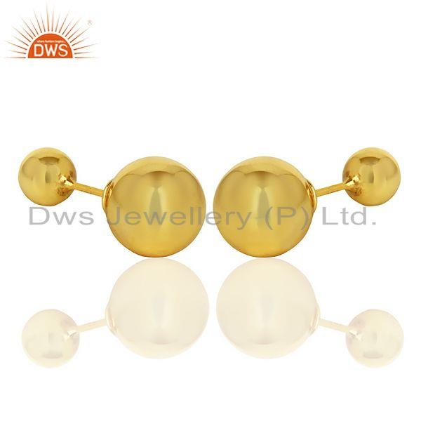 Exporter Two Ball Stud,Two Way Stud Post 14K Gold Plated Trendy Sterling Silver Earring