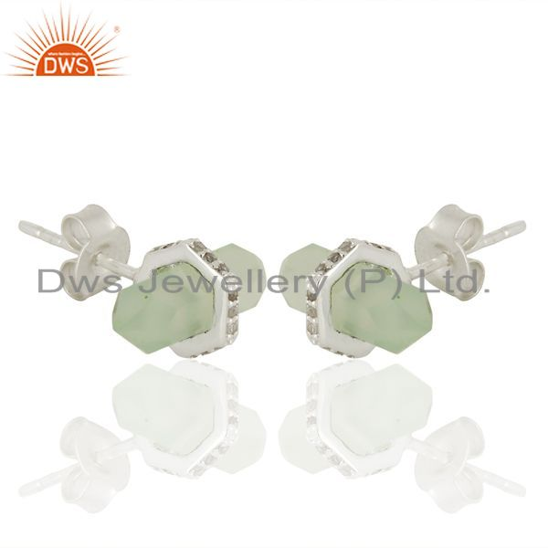 Supplier of Aqua Chalcedony Cz Studded Pencil Post 92.5 Sterling Silver Wholesale Earring
