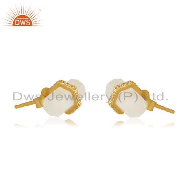 Exporter Rainbow Moonstone Pencil Design Gold Plated Silver Stud Earrings Manufacturer