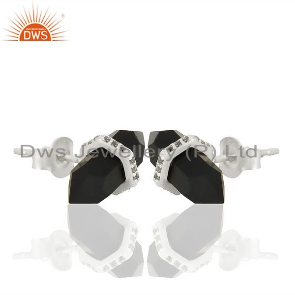 Exporter Black Onyx Cz Studded Pencil Post 92.5 Sterling Silver Wholesale Earring