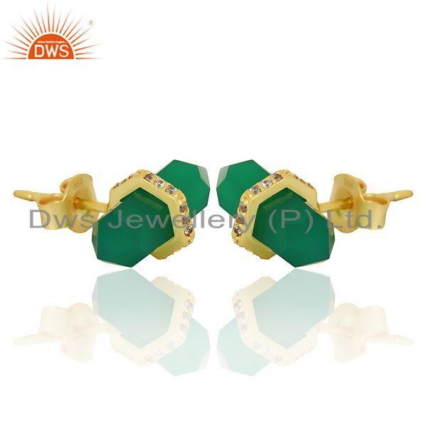 Exporter Green Onyx Cz Studded Pencil Post 14K Gold Plated Sterling Silver Earring