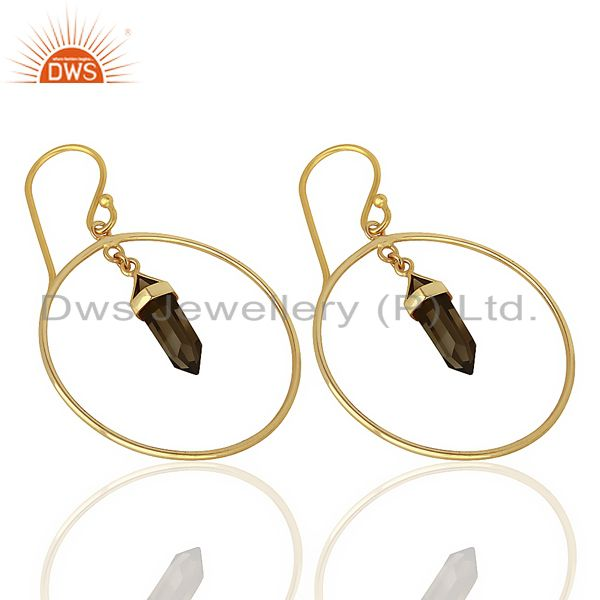 Exporter Smoky Topaz Hoop Earring,Pencil Terminated Earring Gold Plated Silve Earring