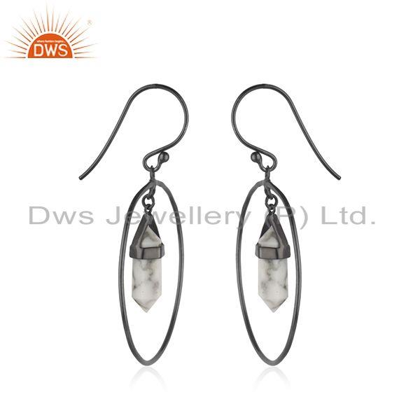 Exporter Handmade 925 Silver Black Rhodium Plated Gemstone Earrings Manufacturer India