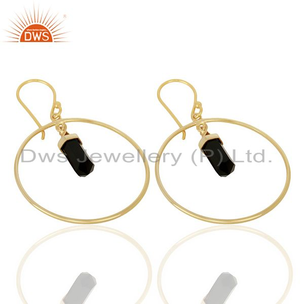 Manufacturer of Black Onyx Hoop Earring,Pencil Terminated Earring Gold Plated Silve Earring