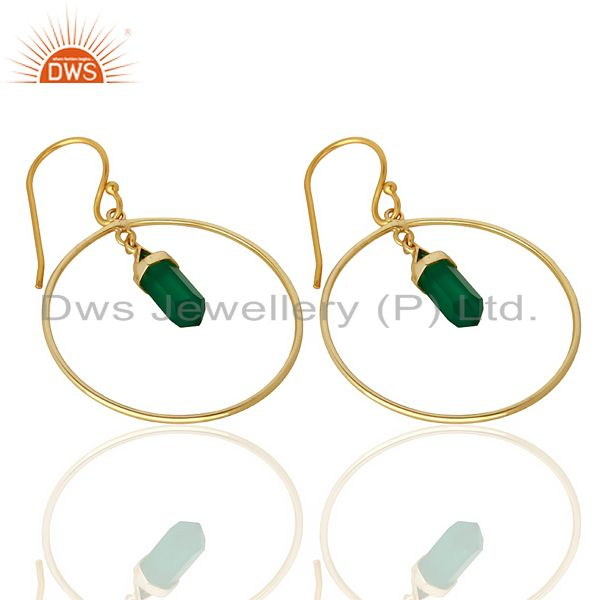 Exporter Green Onyx Hoop Earring,Pencil Terminated Earring Gold Plated Silve Earring