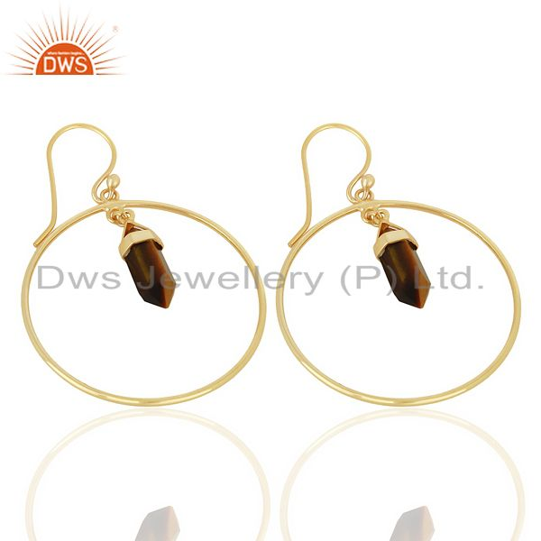 Exporter Tigereye Hoop Earring,Pencil Terminated Earring Gold Plated Silve Earring