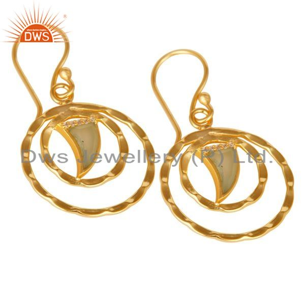 Exporter Aqua Chalcedony Textured Hoops,Horn Hoops,Gold Plated 92.5 Silver Hoops Earring