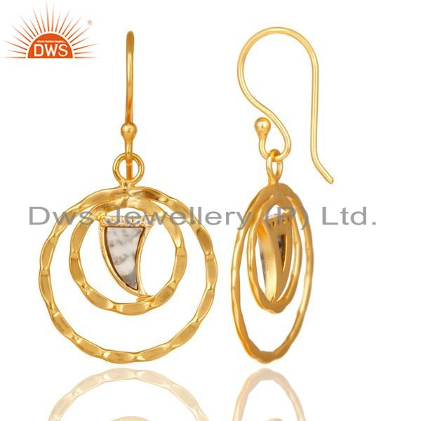 Exporter Howlite Textured Hoops,Horn Hoops,Gold Plated 92.5 Silver Hoops Earring