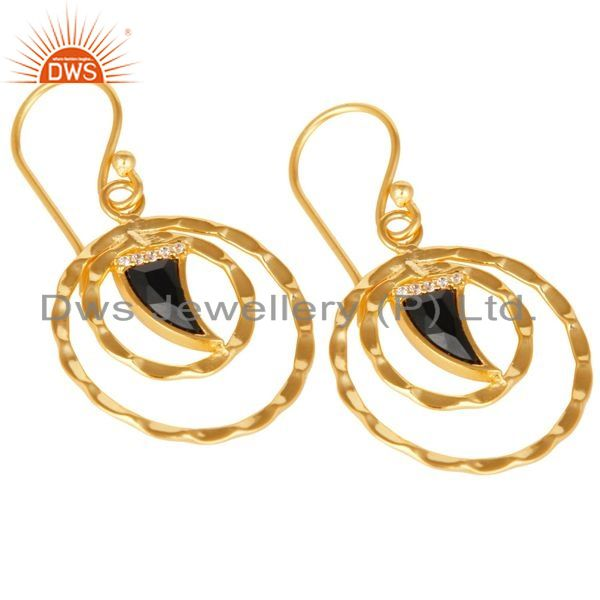 Exporter Black Onyx Textured Hoops,Horn Hoops,Gold Plated 92.5 Silver Hoops Earring