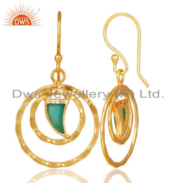 Exporter Green Onyx Textured Hoops,Horn Hoops,Gold Plated 92.5 Silver Hoops Earring