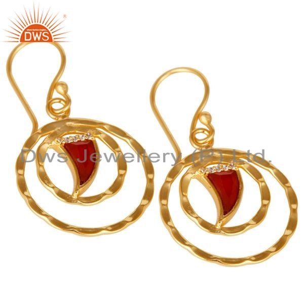 Exporter Red Onyx Textured Hoops,Horn Hoops,Gold Plated 92.5 Silver Hoops Earring