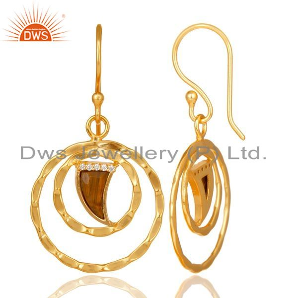 Exporter Tigereye Textured Hoops,Horn Hoops,Gold Plated 92.5 Silver Hoops Earring
