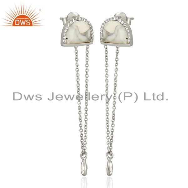 Exporter Cz Gemstone 925 Silver White Chain Earrings Manufacturer from India
