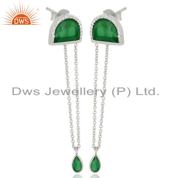 Exporter Green Onyx Studded Half Moon Long Dangle 92.5 Sterling Silver Earring