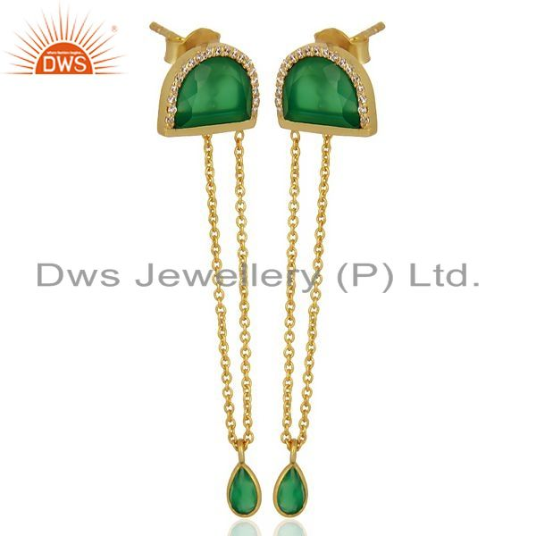 Manufacturer of Green Onyx Studded Half Moon Long Dangle Gold Plated Sterling Silver Earring