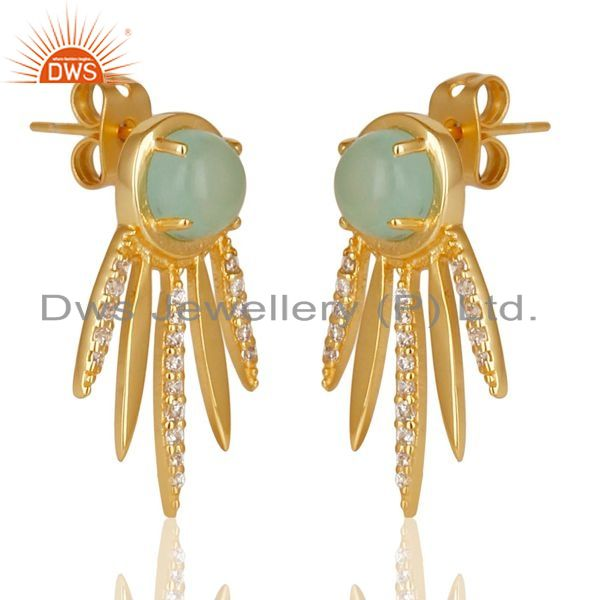 Exporter Aqua Chalcedony White Cz Studded Spike Post Gold Plated Sterling Silver Earring