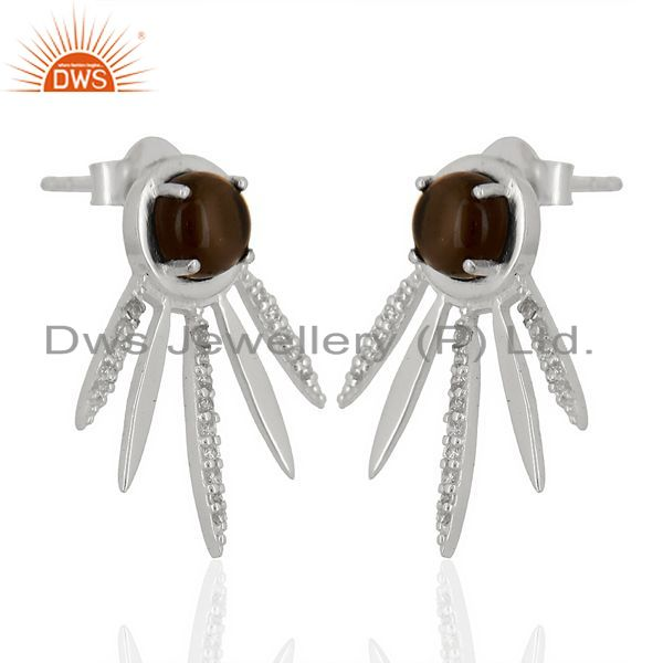 Exporter Smoky Topaz And White Cz Studded Spike Post 92.5 Sterling Silver Earring