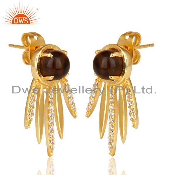 Exporter Smoky Topaz And White Cz Studded Spike Post Gold Plated Sterling Silver Earring