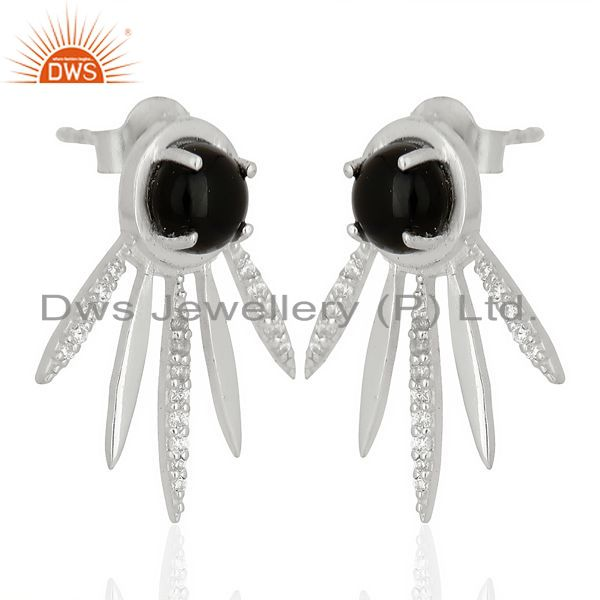 Exporter Black Onyx And White Cz Studded Spike Post 92.5 Sterling Silver Earring