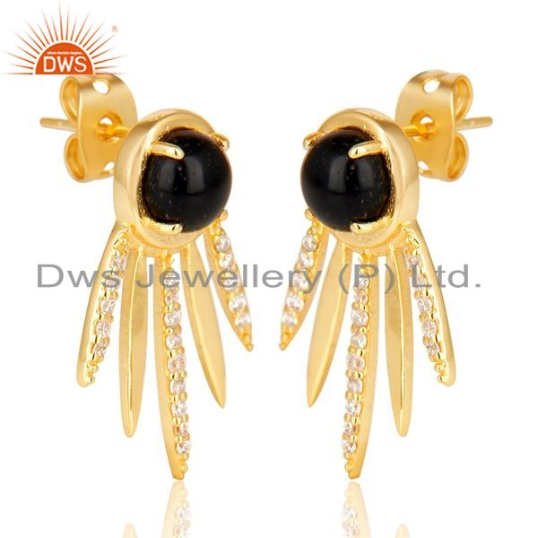 Exporter Black Onyx And White Cz Studded Spike Post Gold Plated Sterling Silver Earring