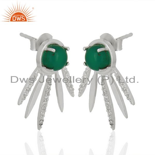 Exporter Green Onyx And White Cz Studded Spike Post 92.5 Sterling Silver Earring