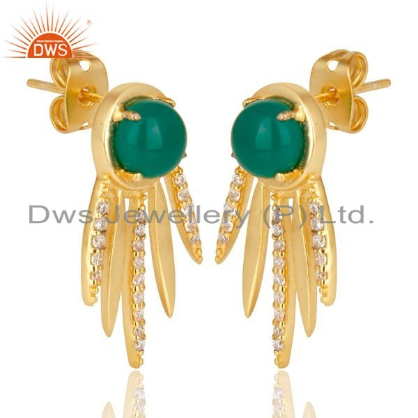 Exporter Green Onyx And  White Cz Studded Spike Post Gold Plated Sterling Silver Earring