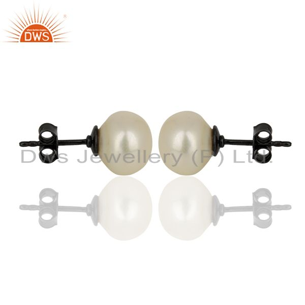 Exporter Genuine Pearl Stud 10 MM Post Black rhodium 92.5 Silver Wholesale Earring