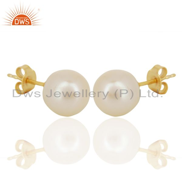 Exporter Genuine Pearl Stud 10 MM Post Gold Plated 92.5 Sterling Silver Wholesale Earring