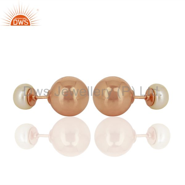 Exporter Pearl Stud 18K Rose Gold Plated 925 Sterling Silver Stud Earrings Jewelry