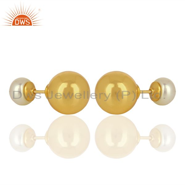 Exporter Pearl Stud 18K Yellow Gold Plated 925 Sterling Silver Stud Earrings Jewelry