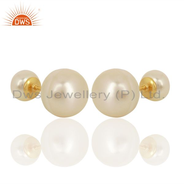 Exporter Pearl Stud 18K Yellow Gold Plated 925 Sterling Silver Earrings Jewelry