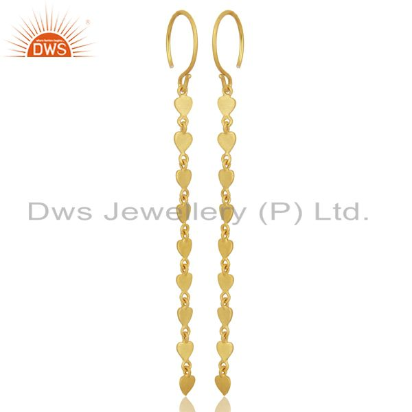 Exporter 14K Yellow Gold Plated 925 Sterling Silver Long Chain Dangle Earrings Jewelry