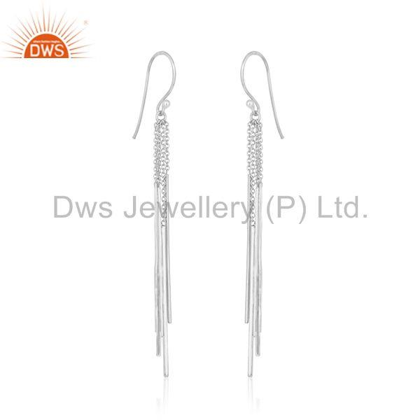 Exporter Long Tassel Chain 925 Sterling Silver White Rhodium Plated Dangle Earring