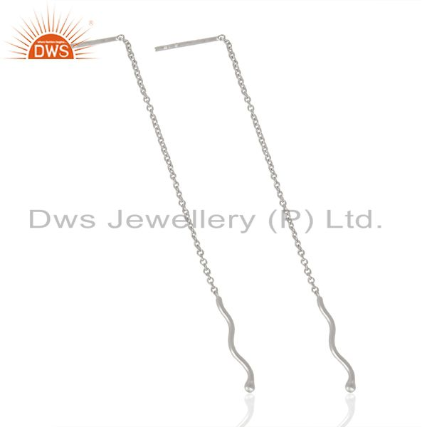 Exporter Threader Chain925 Sterling Silver White Rhodium Plated Earrings Jewellery