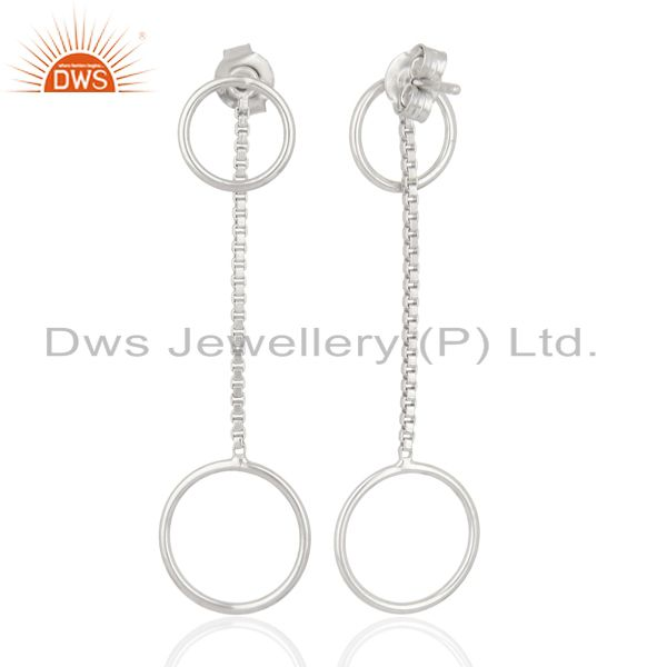 Exporter Double Circle Chain 925 Sterling Silver White Rhodium Plated Dangle Earrings