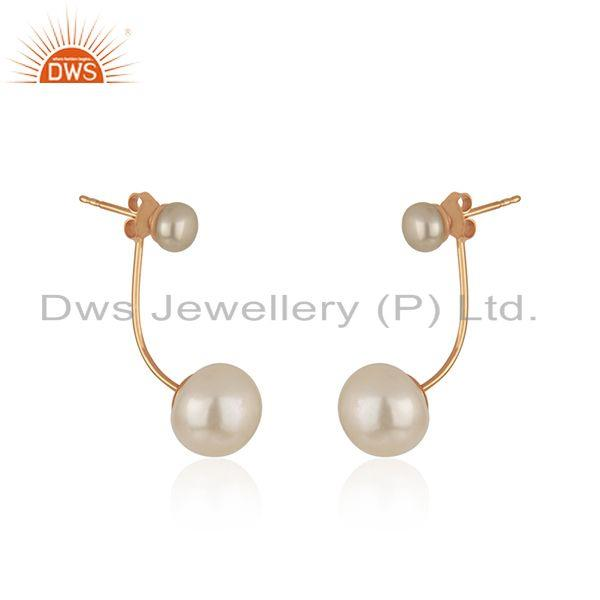 Exporter New Rose Gold Plated Silver Pearl Earrings Jewelry For Womens