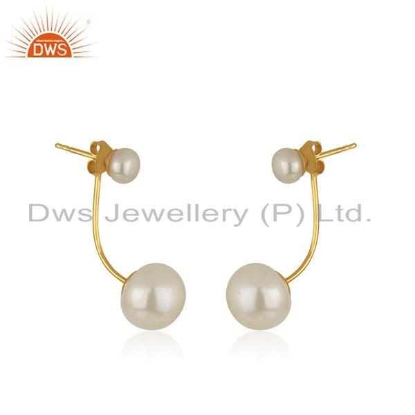Exporter Natural Pearl Gemstone Designer Gold Plated Silver Earrings Jewelry
