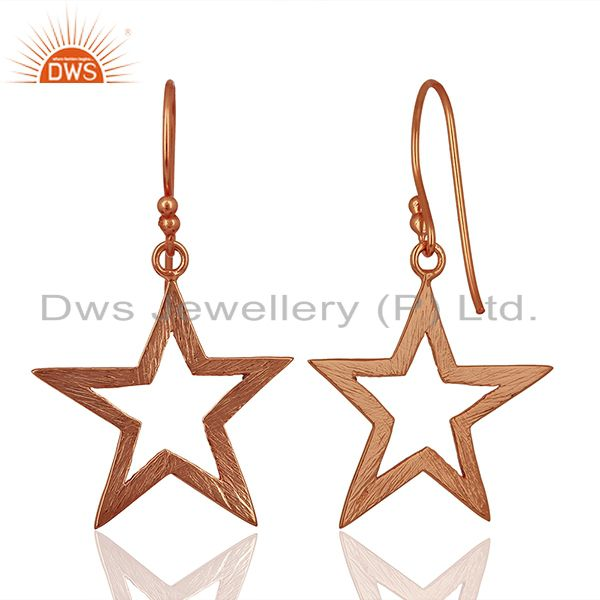 Exporter Rose Gold Plated Silver Star Designer Plain Silver Earrings Jewelry