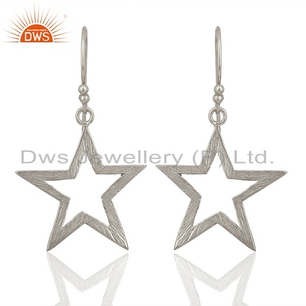 Exporter 925 Sterling Fine Silver Star Design Girls Earring Jewelry Manufacture
