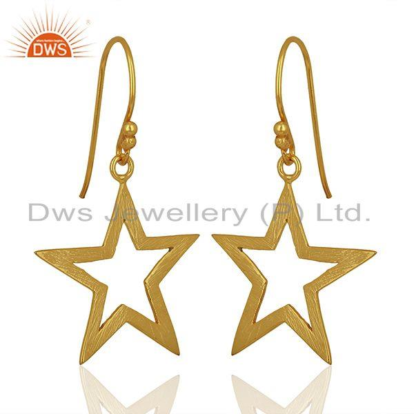 Exporter Lucky Star Charm Gold Plated Sterling Plain 925 Silver Earrings