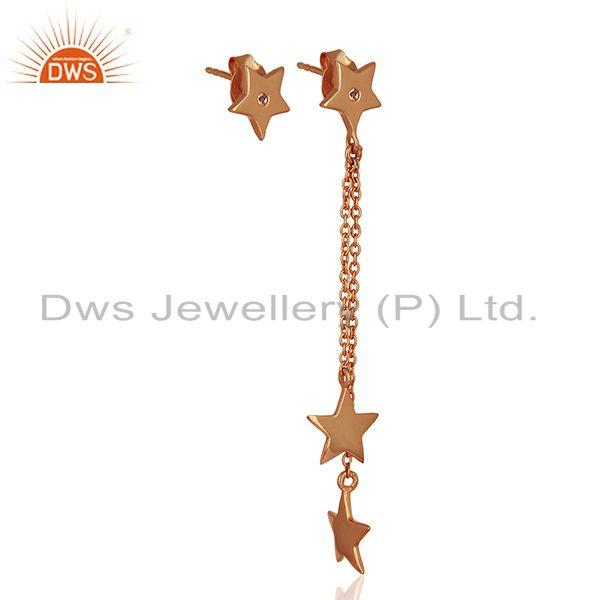 Exporter Rose Gold Plated Sterling Silver White Topaz Star Charm Chain Earrings