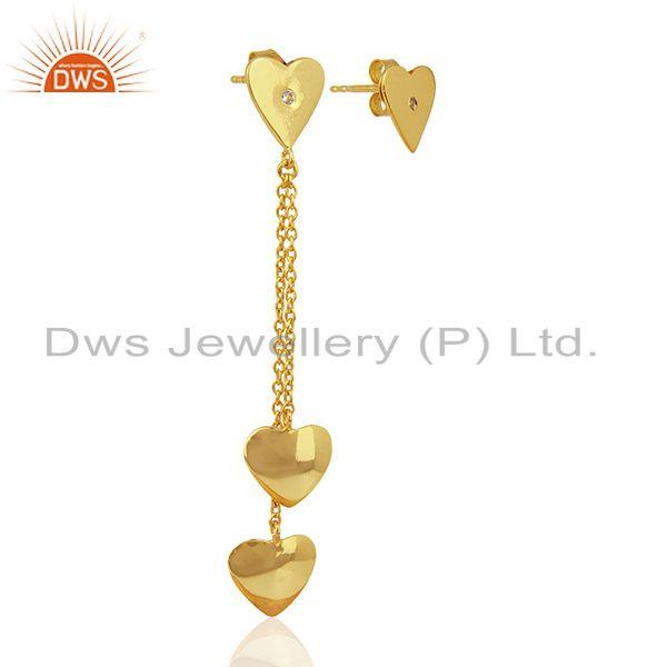Exporter Heart Design Gold Plated Sterling Silver Chain Earring Manufacturer