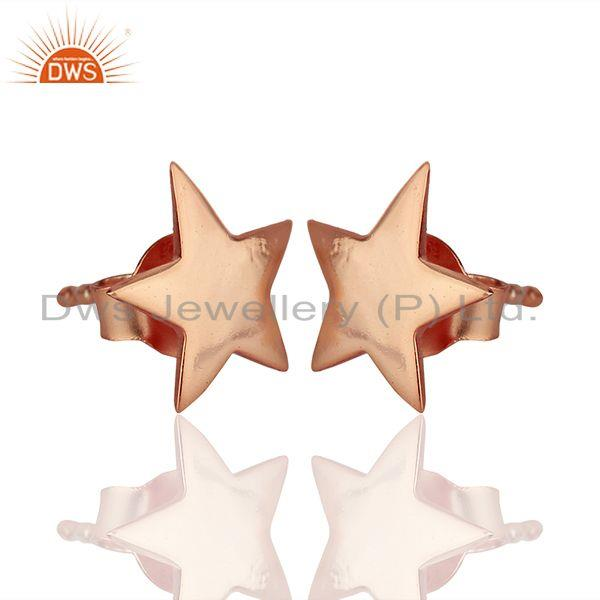 Exporter 14k Rose Gold Plated Star Charm Sterling Silver Stud Earring Supplier