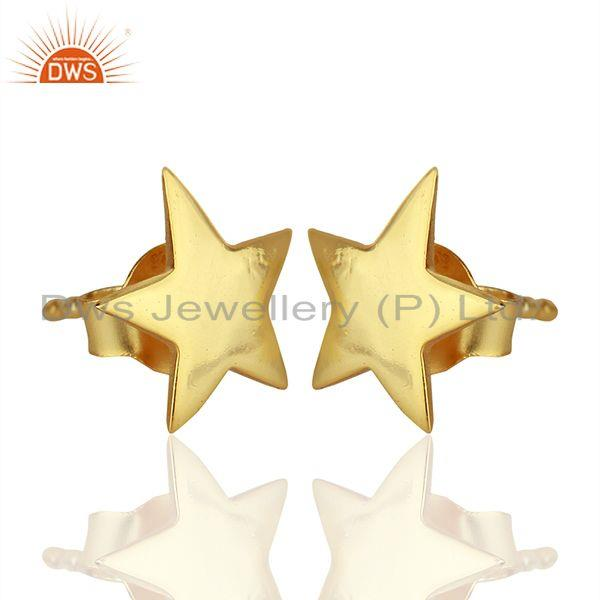 Exporter Handmade Gold Plated Sterling Silver Star Charm Stud Earrings Supplier